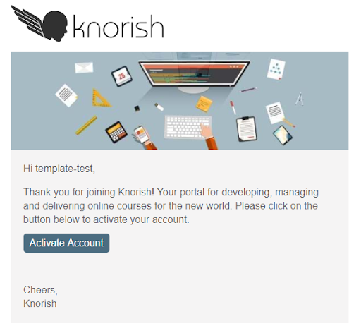 Knorish Login Account Activation Email