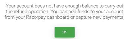 Refund no Balance error message